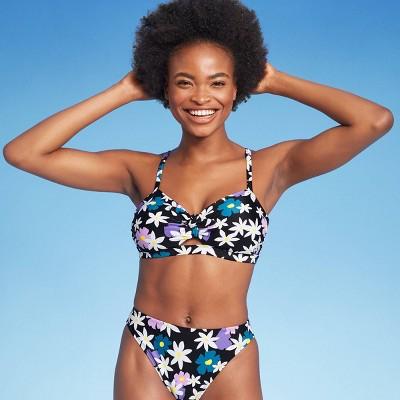 Juniors' Tie-Front Bandeau Bikini Top - Xhilaration™ Black Floral Print