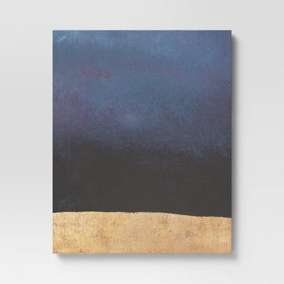"""24"""" x 30"""" Foil Abstract Unframed Wall Canvas Navy/Gold - Project 62™"""