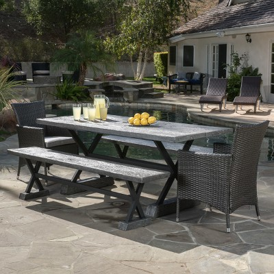 Numana 5pc Wicker and Light Weight Picnic Dining Set - Gray - Christopher Knight Home