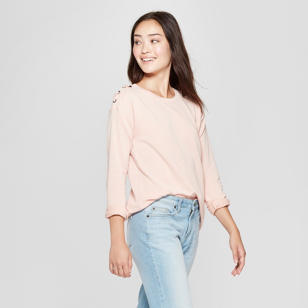 Women's Long Sleeve Lace-Up Shoulder French Terry Pullover - Grayson Threads (Juniors') Blush XL, Pink