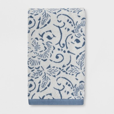 Floral Design Bath Towels Blue - Threshold™