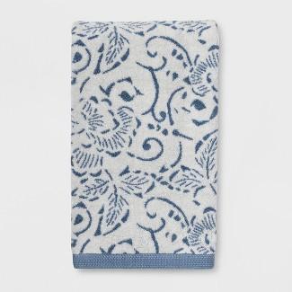 Floral Design Bath Towels Blue - Threshold™