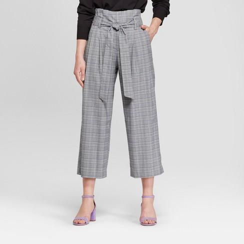 Women S Plaid Tie Waist Crop Pants A New Day Gray