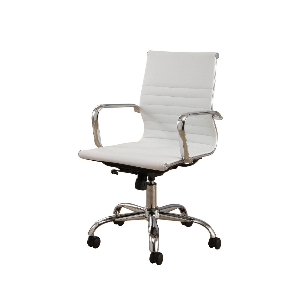 Jackson Silver Finish Leather Office Chair White - Abbyson Living