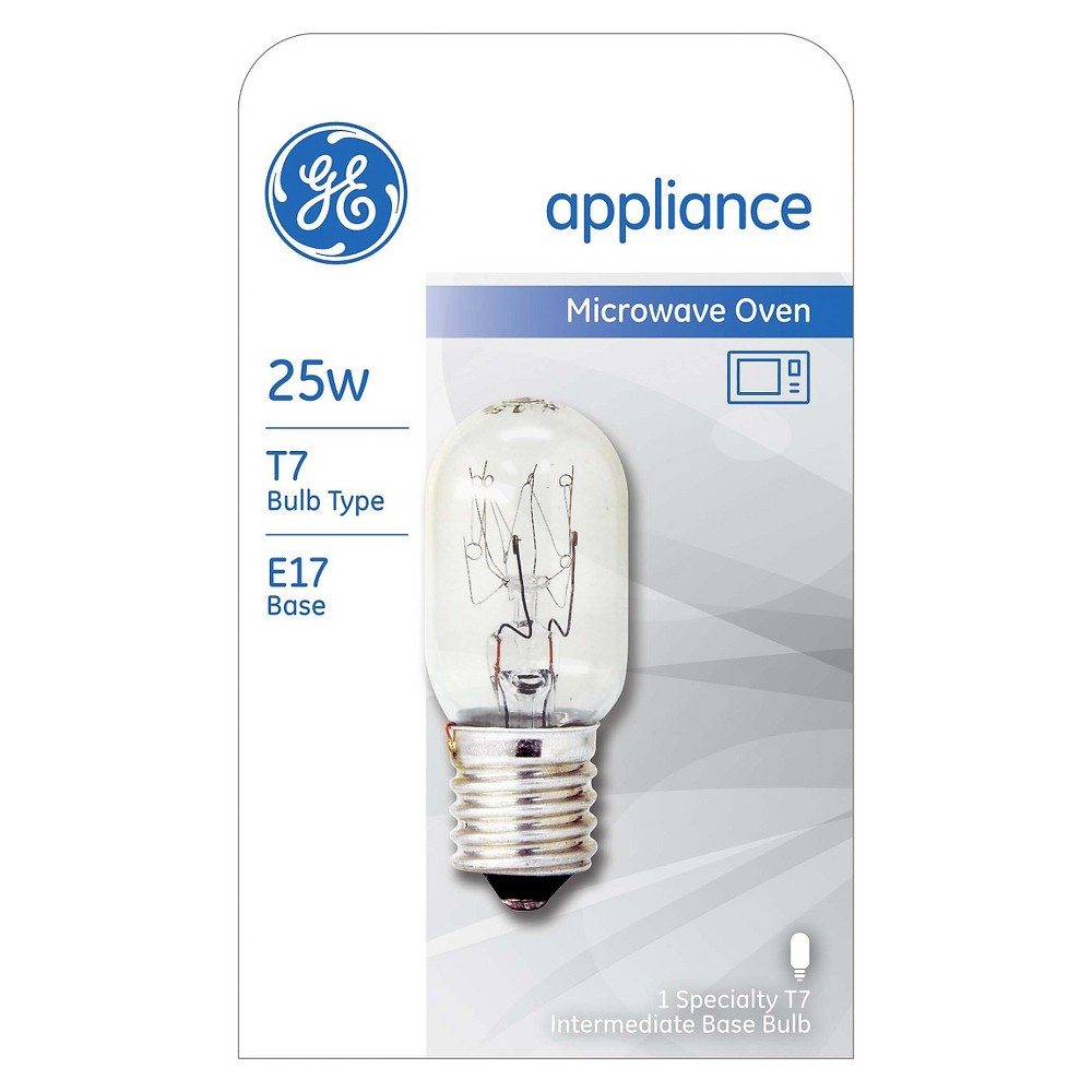 General Electric 25w T7 Microwave Incandescent Light Bulb T7 appliance bulbs are often used in microwave ovens. Be sure to check the appliance or fixture for the correct bulb wattage, voltage, and base type before use. Gender: unisex.