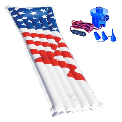 "Swimline 72"" American Flag Swimming Pool Raft Float + 12-Volt Electric Air Pump - image 1 of 4"