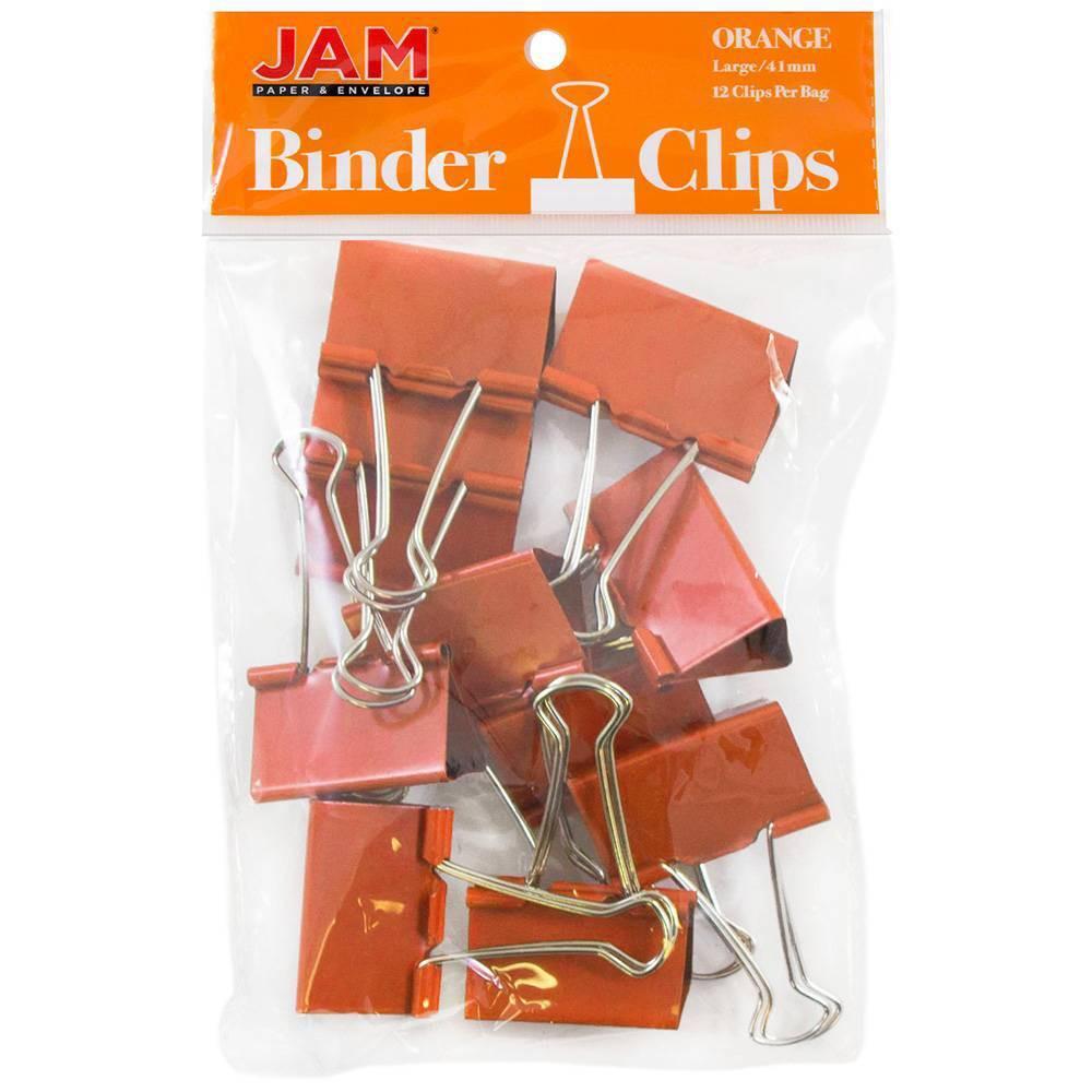 Jam Paper 1 1 2 12pk Colorful Binder Clips Large Orange