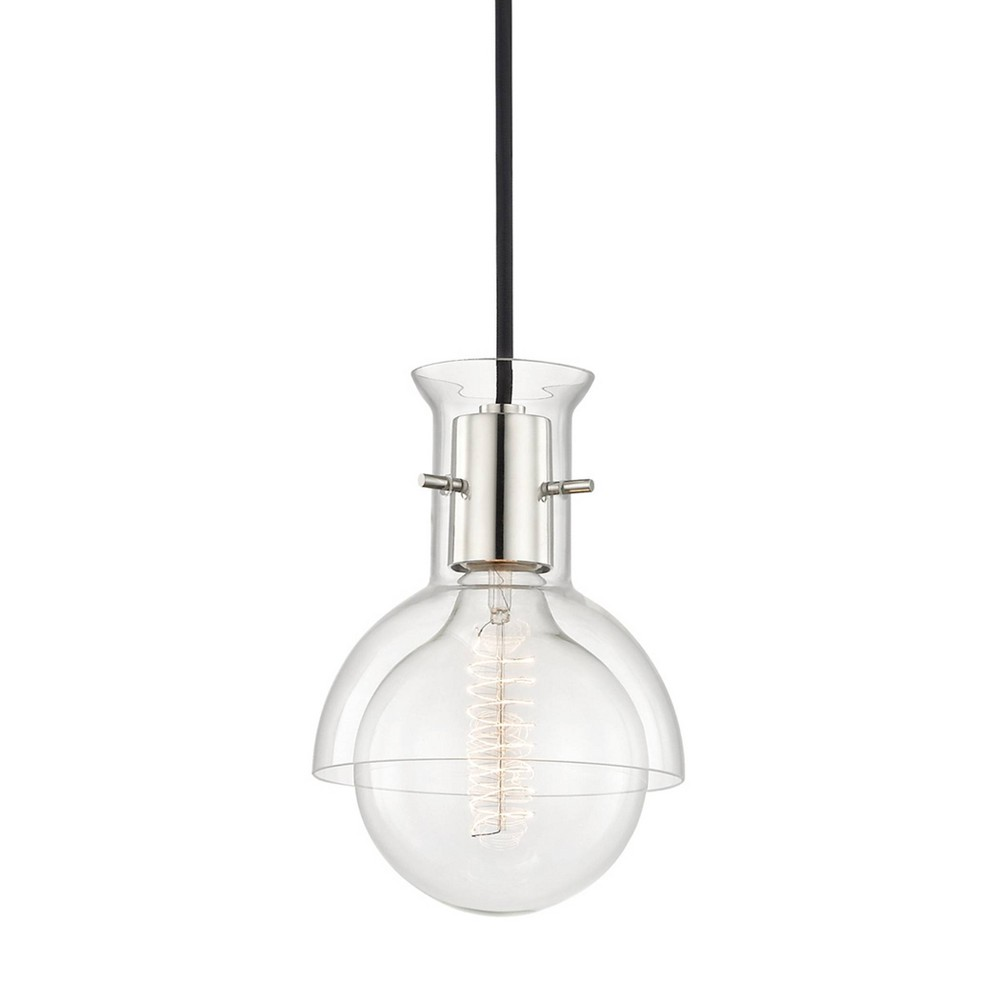 Riley 1-Light Pendant Chandelier Clear Glass Brushed Nickel - Mitzi by Hudson Valley Compare
