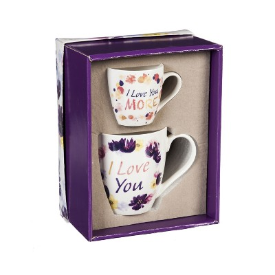 Cypress Home Mommy and Me Ceramic Cup Gift Set, I love you/I love you more