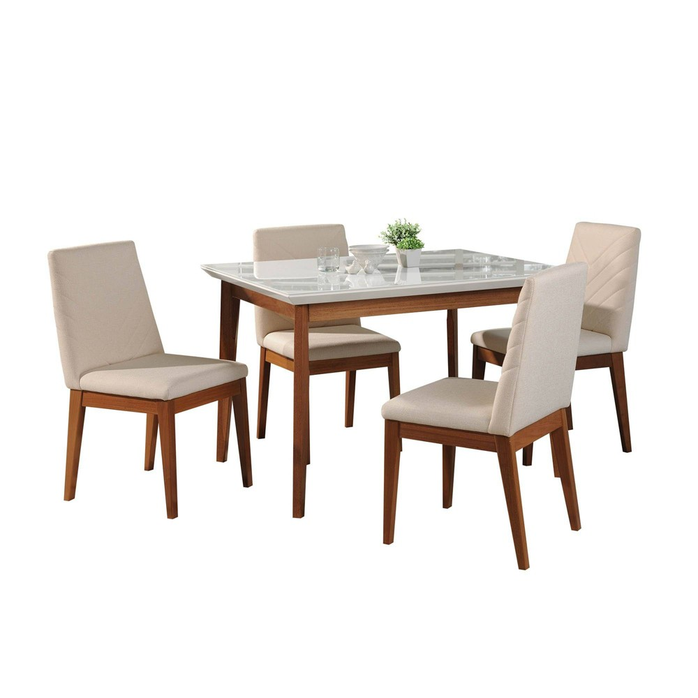 45.66 5pc Lillian and Catherine Dining Set Gloss White/Beige - Manhattan Comfort