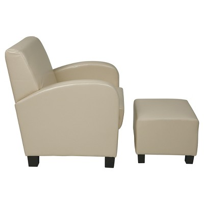 Superbe Faux Leather Club Chair With Ottoman Cream   Office Star : Target