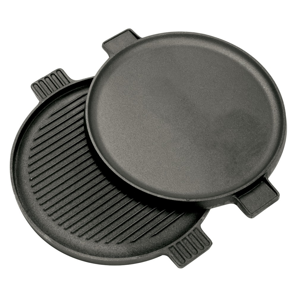 Bayou Classic Cast Iron 14in Reversible Round Griddle, Black