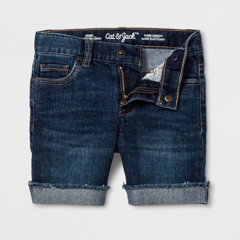 Toddler Girls' Jeans Shorts - Cat & Jack™ Dark Blue 4T - image 1 of 2