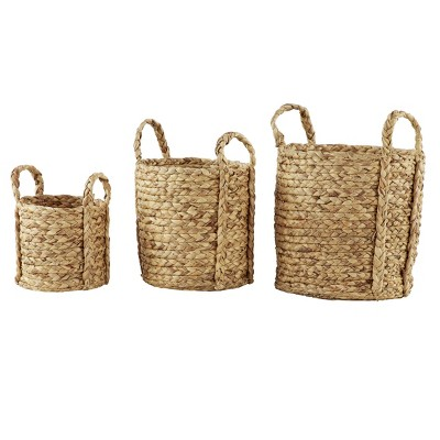 Set of 3 Seagrass Wicker Basket Planters with Handles Natural - Olivia & May