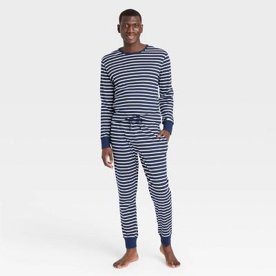Men's Striped 100% Cotton Matching Family Pajama Set - Navy