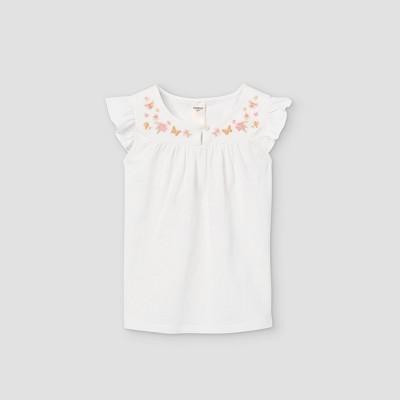 OshKosh B'gosh Toddler Girls' Embroidered Short Sleeve T-Shirt - White