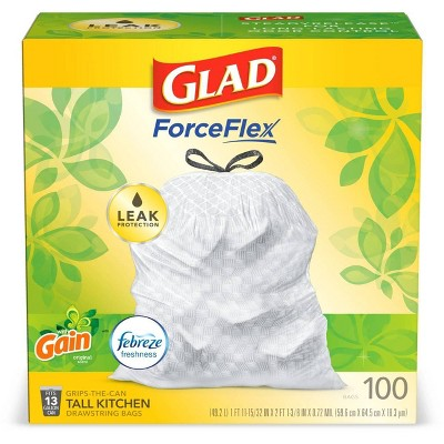Glad Tall Kitchen Drawstring Trash Bags OdorShield 13 Gallon - Gain Original with Febreze Freshness - 100ct