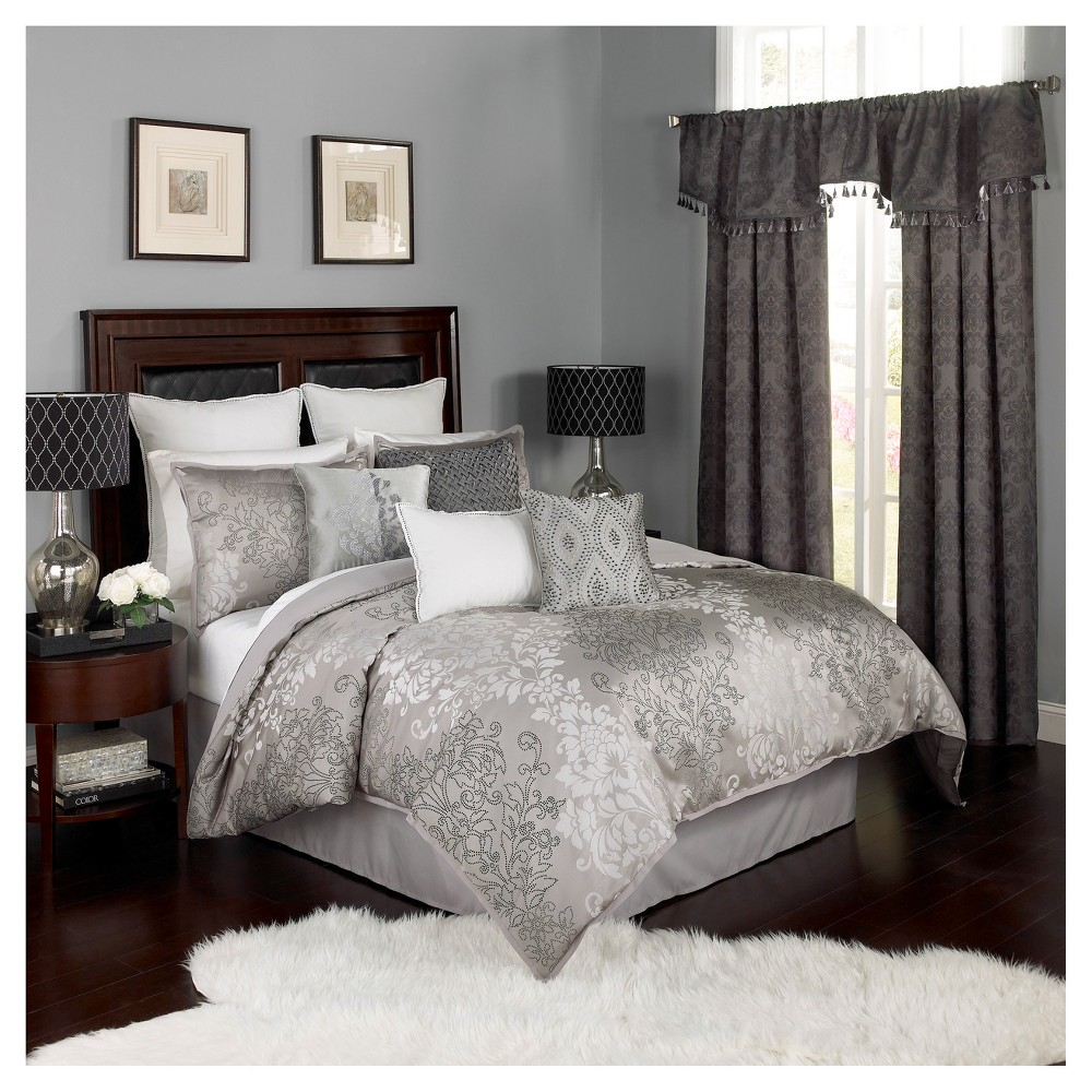 Gray Geo Chacenay Comforter Set (King) 4pc - Beautyrest, White Gray