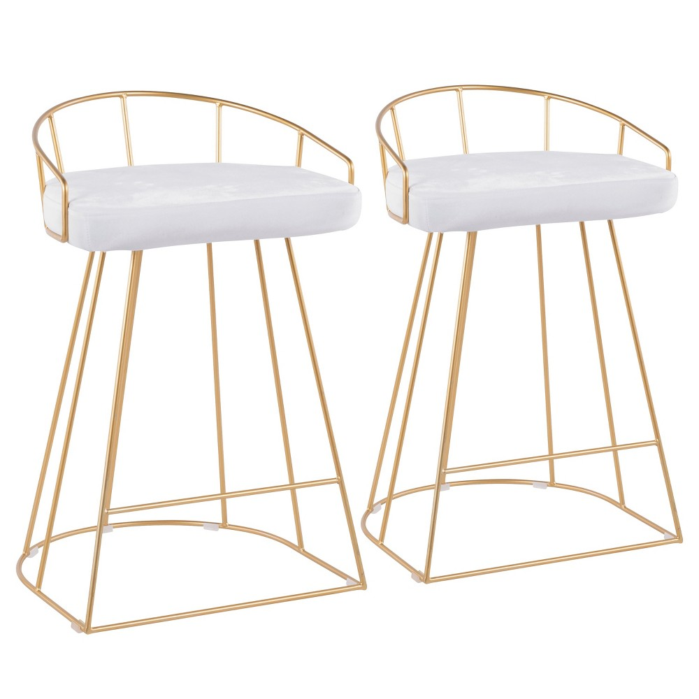 Set of 2 Canary 26 Contemporary Glam Counter Height Barstools White/Gold - LumiSource Reviews
