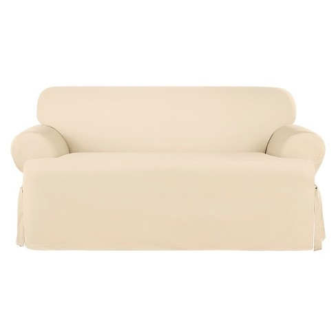 Fantastic Heavyweight Cotton Duck T Loveseat Slipcover Natural Sure Fit Ncnpc Chair Design For Home Ncnpcorg