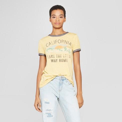 ef805186e42 Women s Short Sleeve California Long Way Graphic T-Shirt - Zoe+Liv (Juniors )  - Yellow