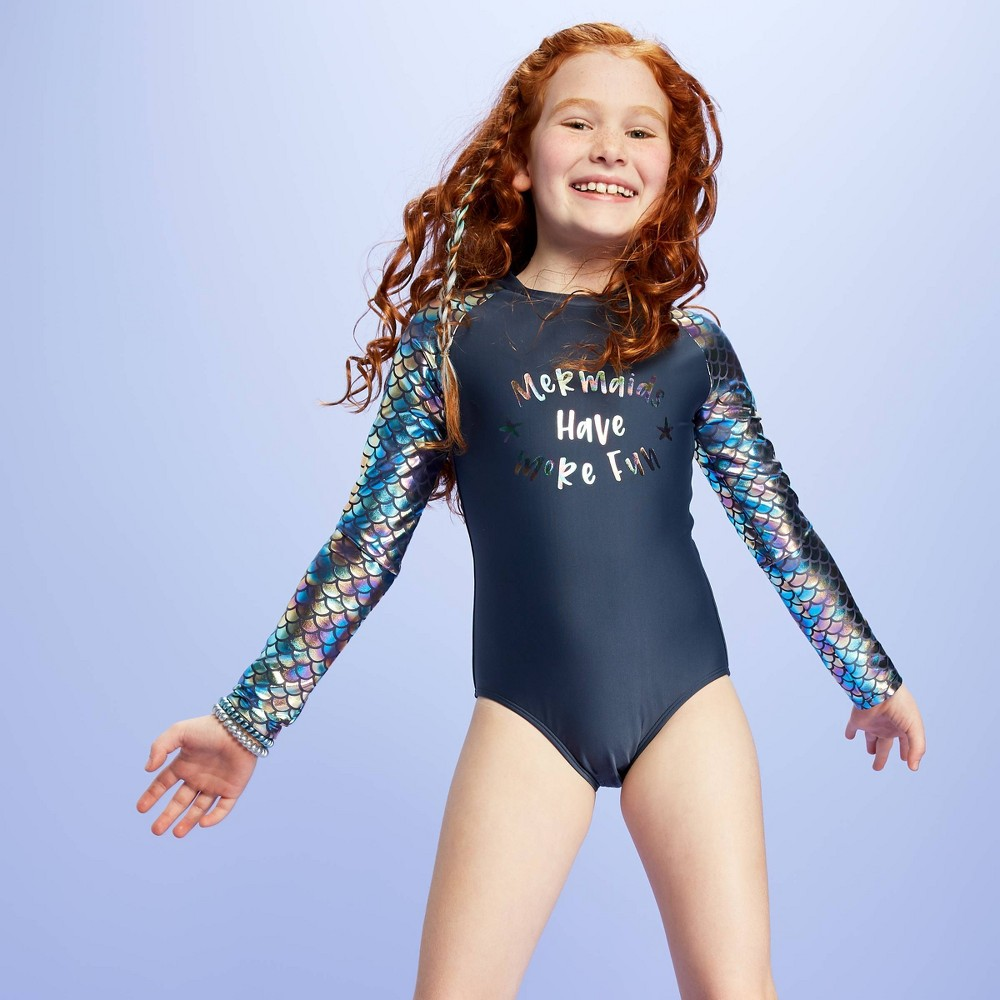 Image of Girls' Feeling Salty One Piece Rash Guard - More Than Magic Blue L, Girl's, Size: Large