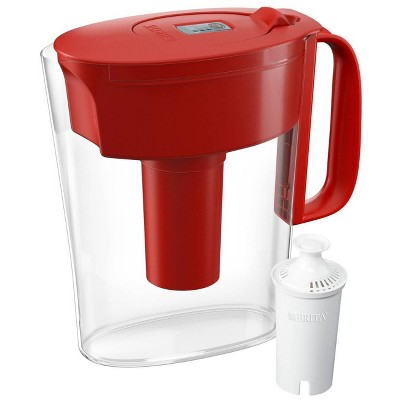 Brita Water Filter 5-Cup Metro Water Pitcher Dispenser with Standard Water Filter - Red