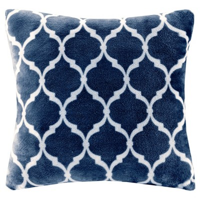 Navy Ogee Printed Microlight Throw Pillow (20 x20 )