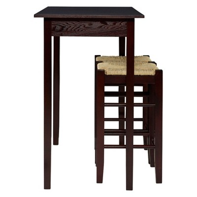 3 Piece Counter Height Table Set Wood/Brown   Linon Home Décor : Target
