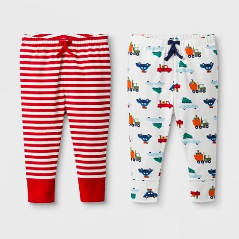 Baby 2pk Cars/Stripe Leggings Pants - Cat & Jack™ Red 6-9M - image 1 of 1