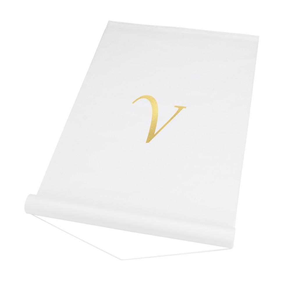 34 V 34 Personalized Wedding Aisle Runner White