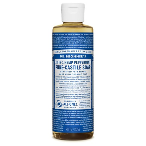 Dr Bronner S Peppermint Pure Castile Liquid Soap 8oz