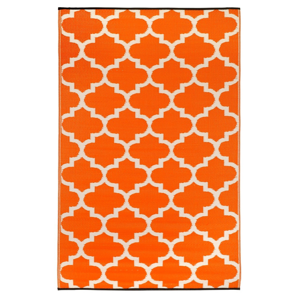 Outdoor Rug (6' x 9') - Tangier Carrot/White - Fab Habitat, Orange