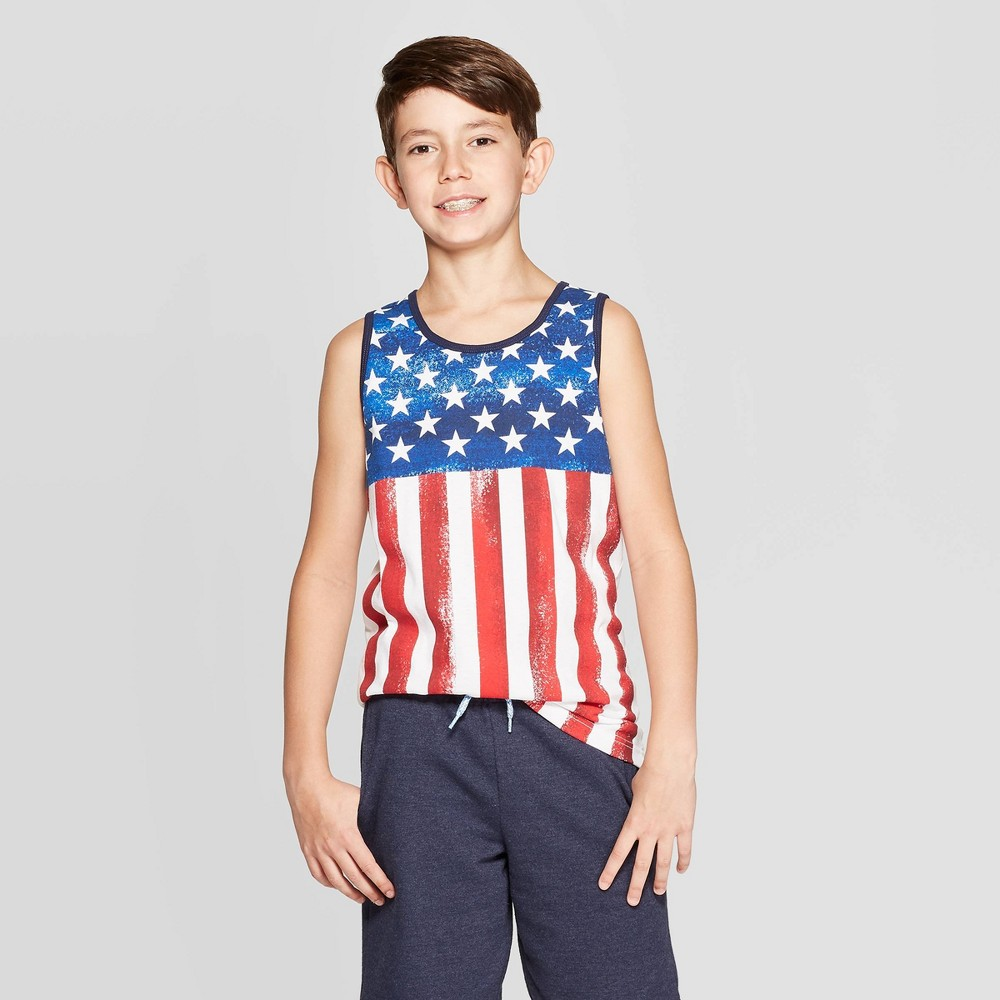 Image of Boys' American Flag Tank Top - Cat & Jack White L, Boy's, Size: Large