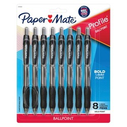 Paper Mate Profile 8pk Ballpoint Pens Black