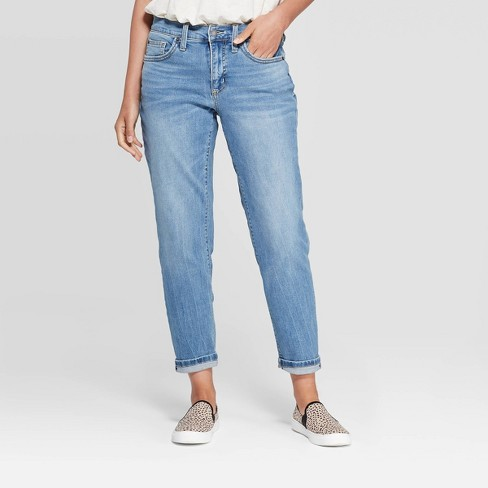 Women's Mid-Rise Girlfriend Cropped Jeans - Universal Thread™ Light Blue - image 1 of 4