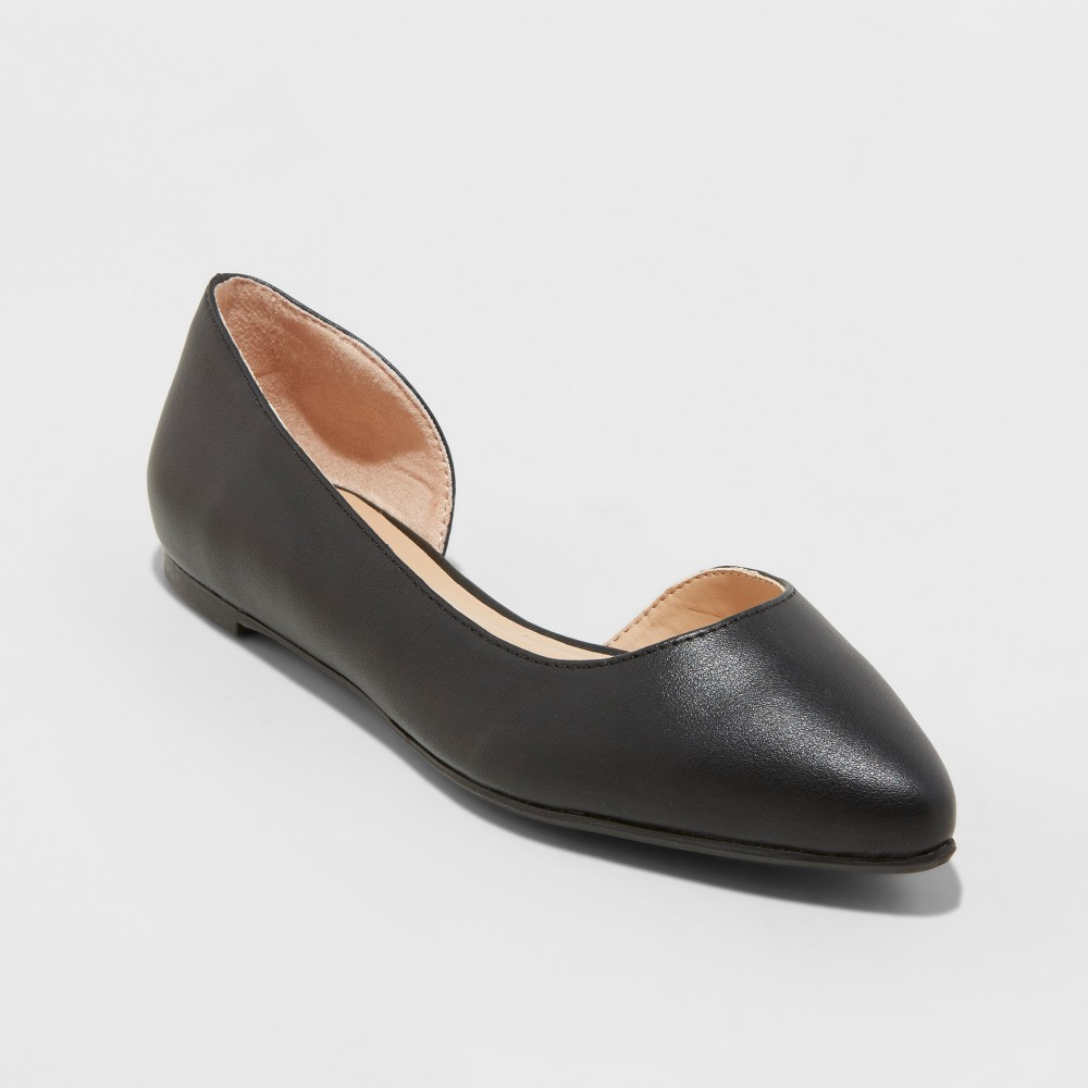 Women's Mohana D'orsay Wide Width Pointed Toe Ballet Flats - A New Day Black 9.5W, Size: 9.5 Wide
