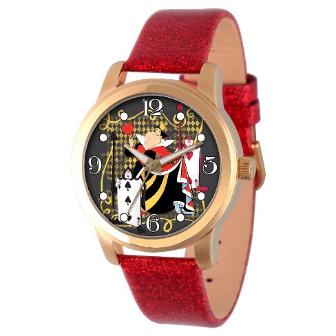 Women's Disney Alice in Wonderland Gold Alloy Watch - Red - image 1 of 2