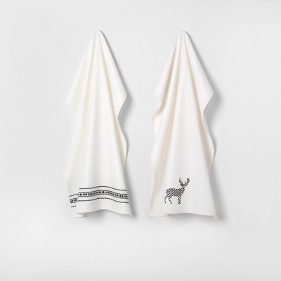2pk Kitchen Towel Sour Cream with Black Embroidery - Hearth & Hand™ with Magnolia