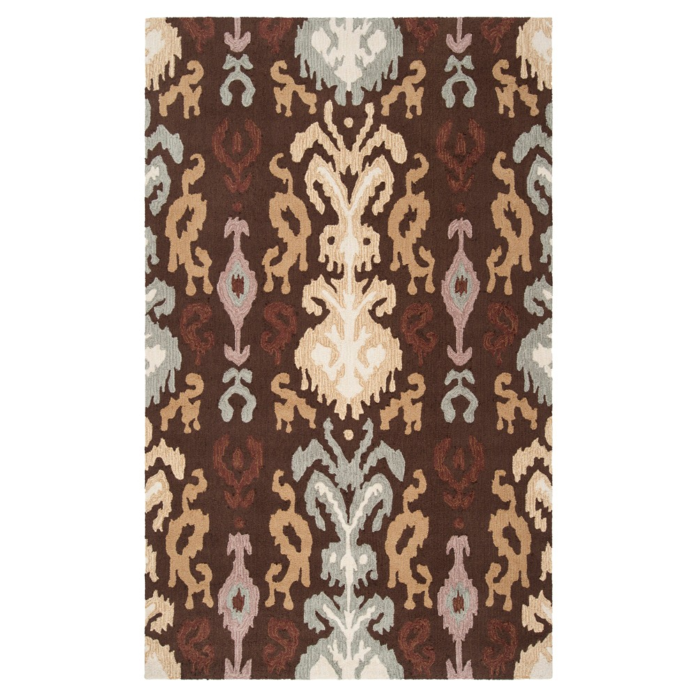 Brown Solid Hooked Accent Rug - (2'X3') - Surya, Dark Brown