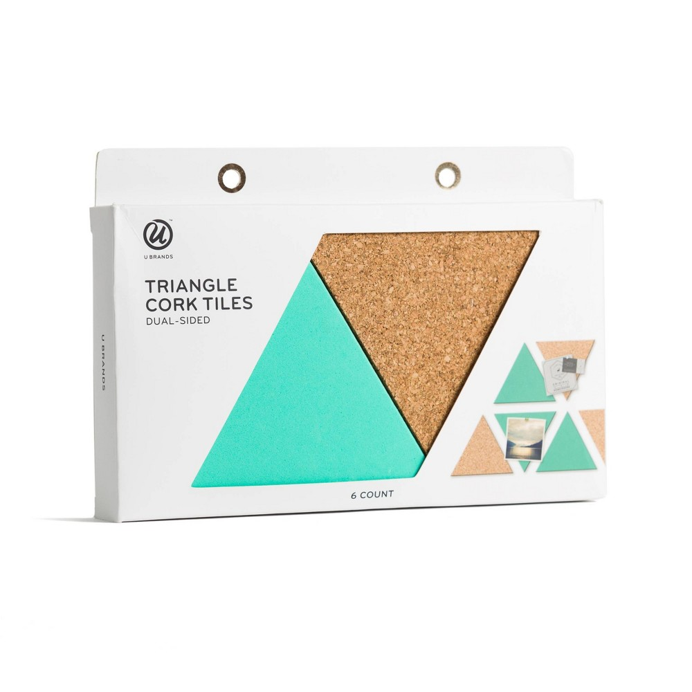 Image of Triangle Dual-Sided Cork Tiles - UBrands, Brown Blue