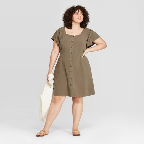 Women\'s Plus Size Short Sleeve Square Neck Button-Front Dress - Universal  Thread™ Olive