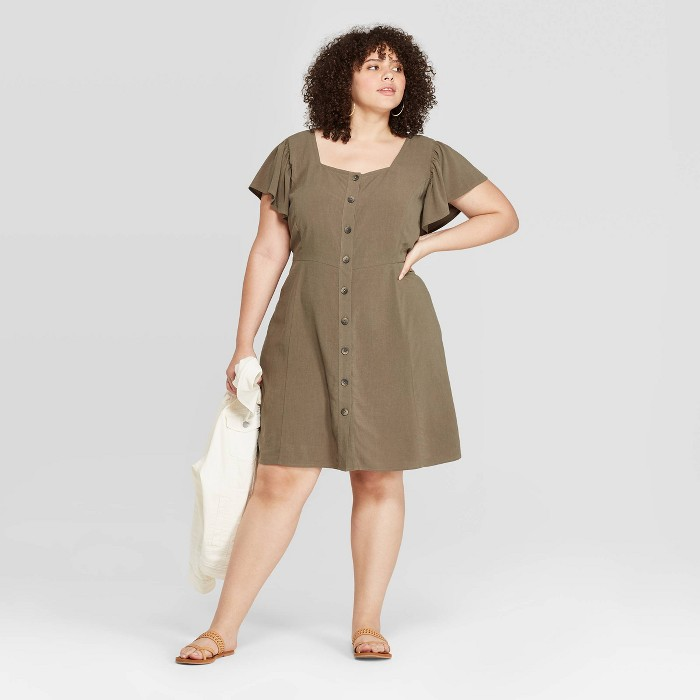 Women's Plus Size Short Sleeve Square Neck Button-Front Dress - Universal Thread™ Olive - image 1 of 3