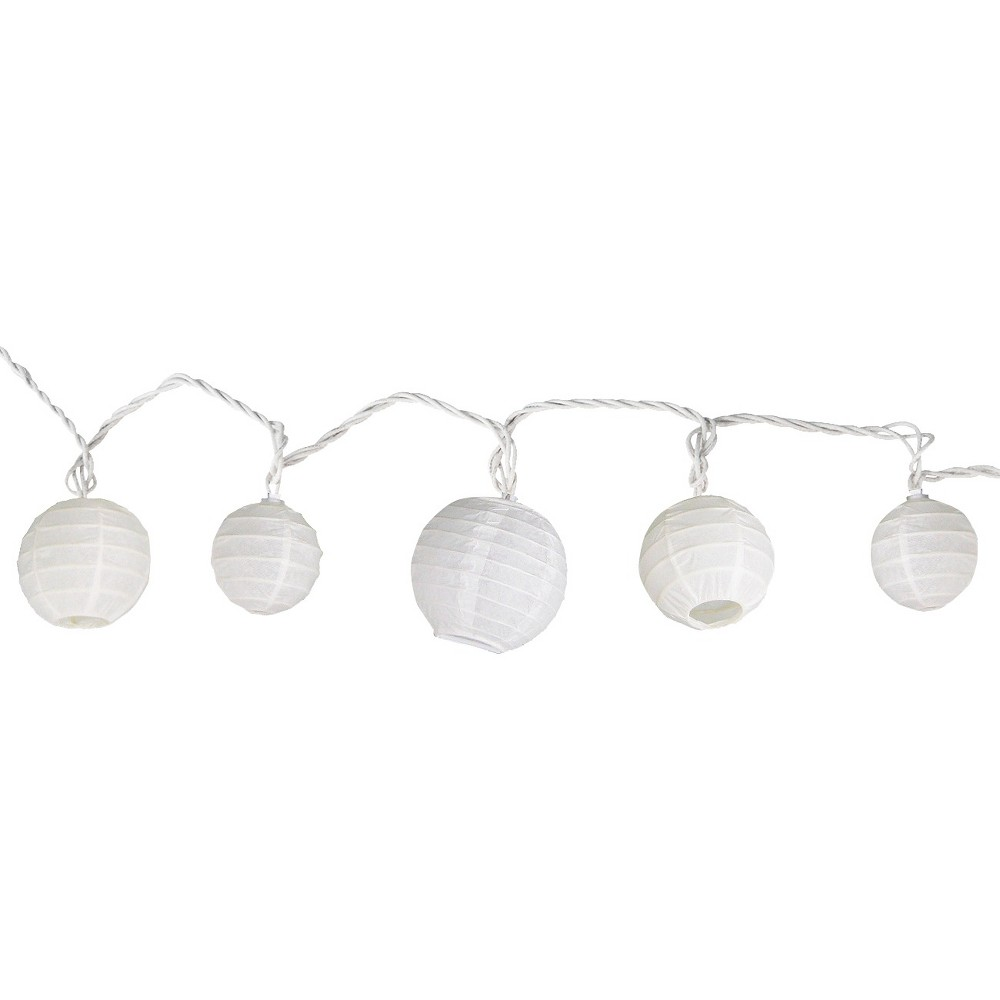 Image of 11' Multi-Size Ball String Lights White - Room Essentials