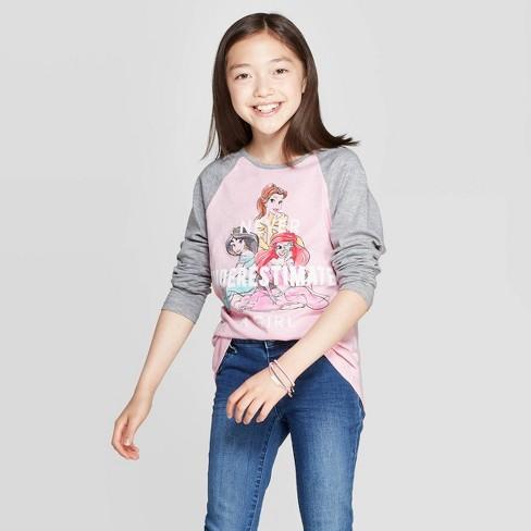 Girls' Disney Princess Never Underestimate Long Sleeve Raglan T-Shirt - Light Pink - image 1 of 3