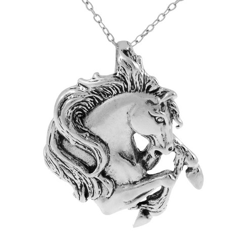 Sterling Silver Horse Head Necklace - Silver - image 1 of 2