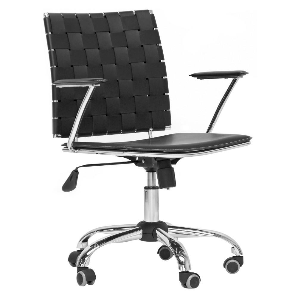 Vittoria Leather Modern Office Chair Black - Baxton Studio