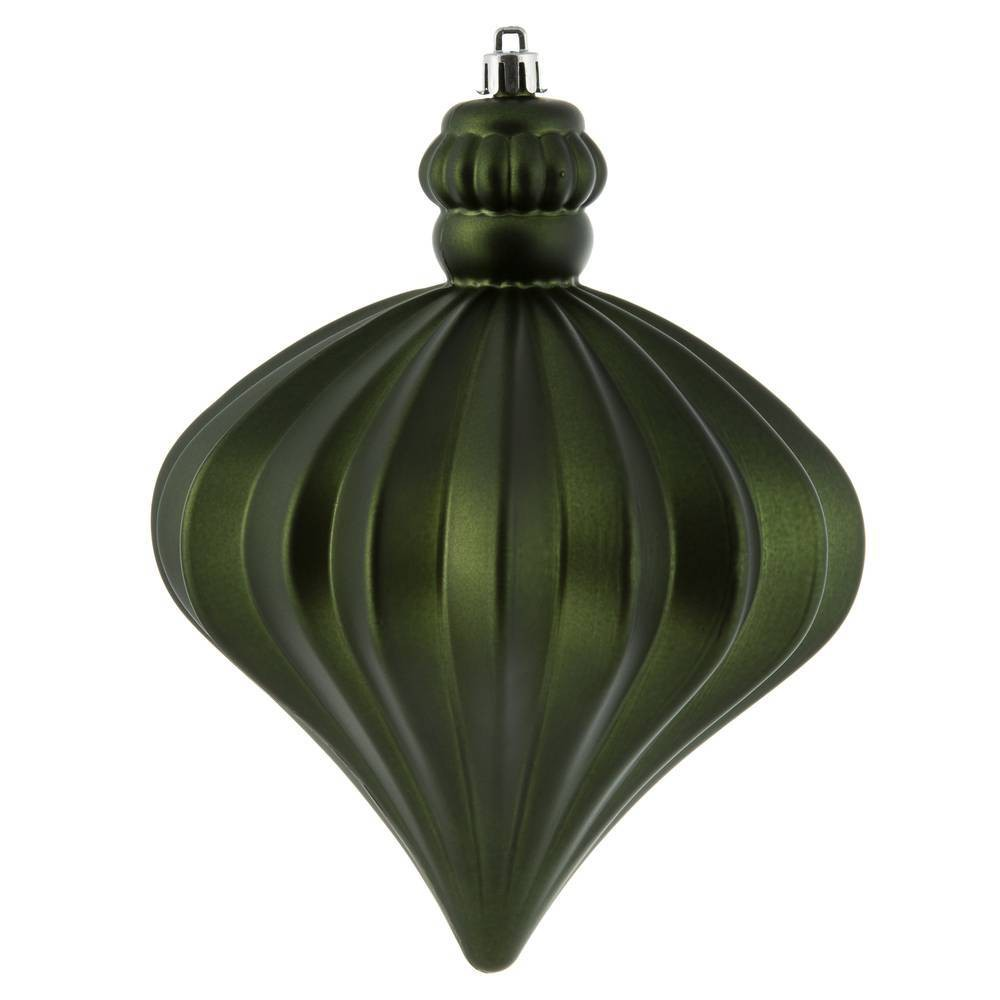 "Image of ""4ct Vickerman 6"""" Matte Onion Drop Ornament Set Moss Green"""