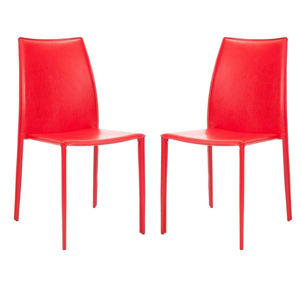 Set of 2 Dining Chairs Red - Safavieh