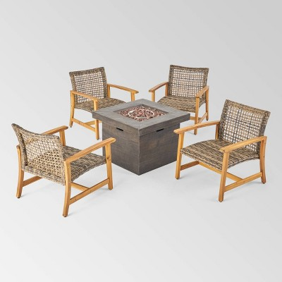 Breakwater 5pc Wood & Wicker Chat Set with Fire Pit - Natural/Gray/Brown - Christopher Knight Home